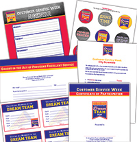 Ready to Use Materials are designed to complement the Customer Service Week logo. They include eCards, Printables, Puzzles, and more.