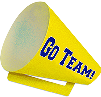 "The Customer Service Week Megaphone is shows the logo on one side and the words ""Go Team"" on the other."
