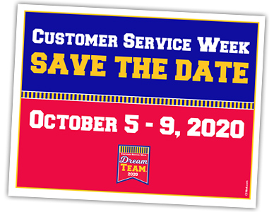 Save the Date Cards are printed in the official Customer Service Week colors or Red, Blue, and Gold.