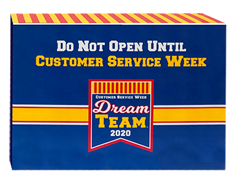 Customer Service Week delivery is made in these attractive full color gift boxes.